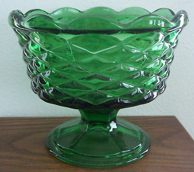Antique Retro Vintage Green Glass Compote/Candy,Basket Weave Pattern Mint