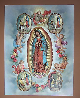 Catholic Picture Print OUR LADY OF GUADALUPE with Juan Diego visions 12x16""