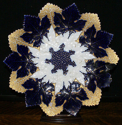 1800's Signed Meissen Gold Cobalt White * Star Edged Cabinet Dinner Plate  As Is