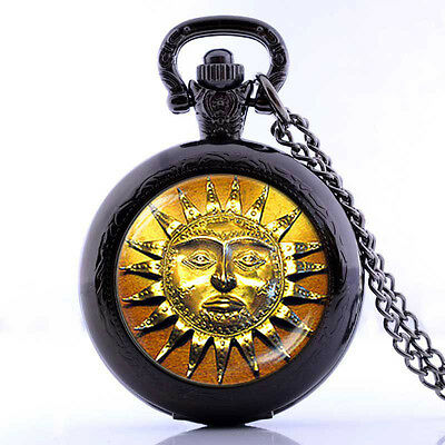 silver necklace pendant pocket pocket watch Sun Aztec  Pagan Celestial Pendant