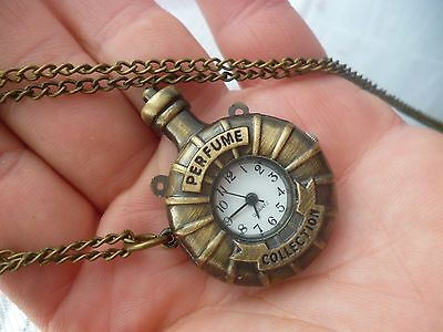 antique bronze vintage perfume bottle necklace pendant engraved watch kitsch