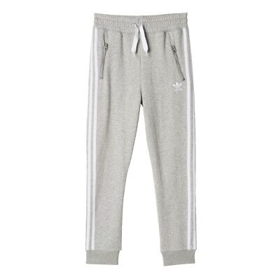 adidas Originals Girls 3 Stripe Cuffed Jogging Pants Tracksuit Bottoms Grey Marl