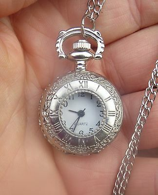 silver tone roman numbers pendant mini pocket watch locket