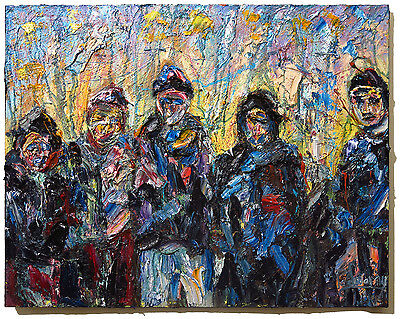 """A 30"""" Modern Original Oil Painting Vintage Impressionist Art Signed Abstract Pop"""