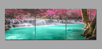 "3Parts 16x16""Waterfall Scenic-Home Wall Decor Art Printed on Canvas""no frame""234"