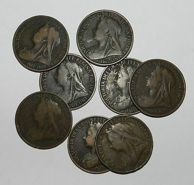 Lot Of 8 Queen Victoria Pennies - Veiled Head