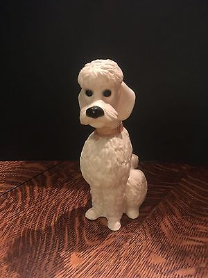Vintage Thrifti Check Ser Plastic Poodle Dog Bank 7 3/4 inch With Stopper