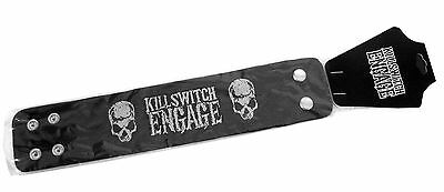 """Killswitch Engage """"skulls"""" Black Faux Leather Wrist Band New Official Kse Osfm"""