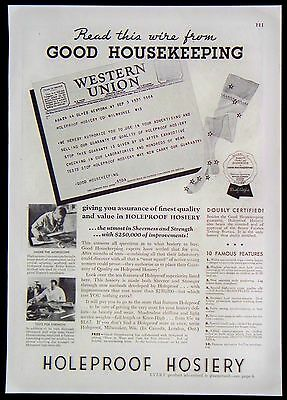 Vintage 1935 Holeproof Hosiery Magazine Ad Utmost in Sheerness & Strength