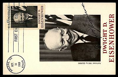 Dwight Eisenhower 1969 Oct 14 Colorano Maximum Card FDC first Day of Issue