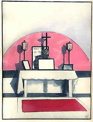 KIRCHEN ALTAR in ART DECO -  René Georges HERMANN-PAUL Handcoloriert 1929