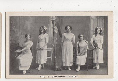 The Five Symphony Girls Vintage Postcard Music 613b