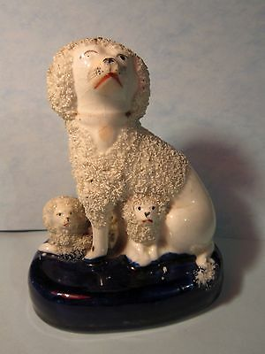 Antique Staffordshire Dog With Two Puppies