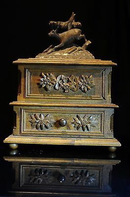Antique Black Forest Carved Jewelry Box/gasket Chamois Or Antelope Top