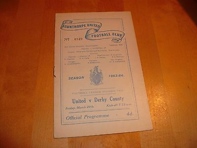 1963 - 1964 SCUNTHORPE v DERBY COUNTY  # LEAGUE MATCH