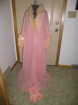 Sears Peach Negligee Gown Robe Set Feathers Size 36 Slippers L 8-9 Vintage Used