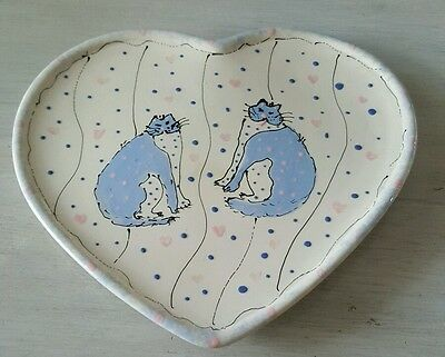 Super Cute Heart Plate w Cats by Kelley original signed