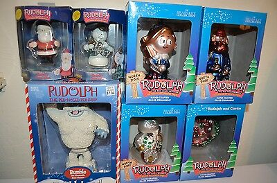 RUDOLPH Reindeer Misfit Toy Bobblehead Christmas Enesco BrassKey Glass ORNAMENTS
