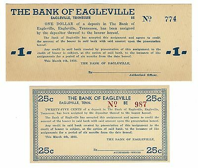 Pair of Bank of Eagleville, Tennessee 1933 depression scrip notes