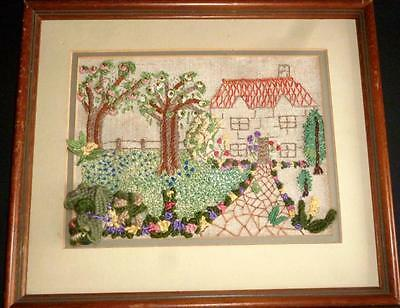 Vintage English Cottage Garden Raised Embroidery Superbly Embroidered Picture