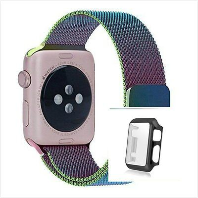 Colourful Milanese Metal Band Strap For Apple Watch 42mm Full Protect Black Case