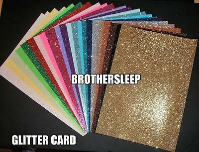 A4 Soft Touch Glitter Card (Virtually non shedding Choice of colours & quantity)