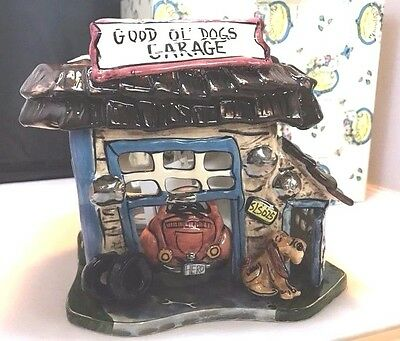 NEW Blue Sky Clayworks Good Ol DOGS Garage Heather Goldminc T-lite Candle Holder