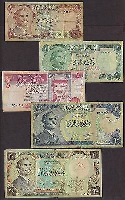 Jordan Nice Collection Of 5 Banknotes Poor Cond - 6631