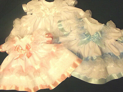 Dream Baby Girls White Pink Blue Frilly Dress Hbd Nb 0-3 3-6 Months Or Reborn