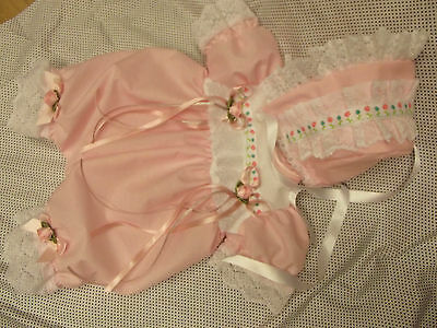 Dream Baby Girls Pink Flower Bubble Romper & Bonnet Nb 0-3 Months Or Reborn