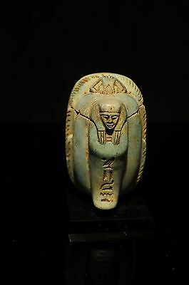 Antique/vintage Egyptian Revival Painted Beetles/scarab King Tut & Wooden Stand