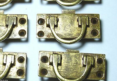 Quality Antique Set 8X Brass Sprung Latch Campaign Ship Chest/drawer/door Handle
