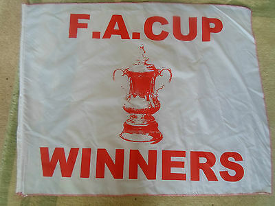F A Cup Winners White & Red Flag ~  Sports Bar / Prop / Shop / Display / MANCAVE