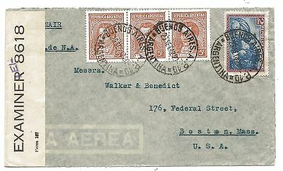 WW2 Form 167 Examiner IE/- Argentina - Trinidad - USA Censored Air Mail