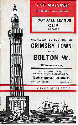 Grimsby Town v Bolton Wanderers Football League Cup Oct 13th 1965 vgc