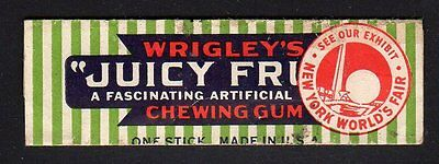 Rare Advertising Wrigley Chewing GUM WRAPPER  1939 NY World Fair