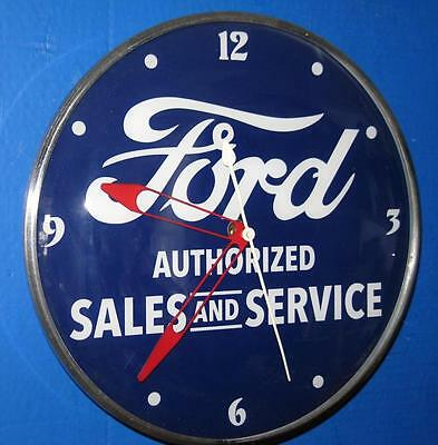 Vintage Pam FORD AUTHORIZED SALES & SERVICE Lighted Advertizing Clock
