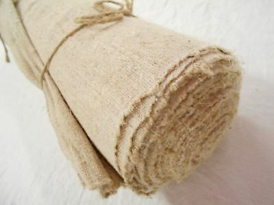VTG Antique HEMP LINEN EUROPEAN French upholstery BOLT GRAIN BAG fabric 9 YD 19""