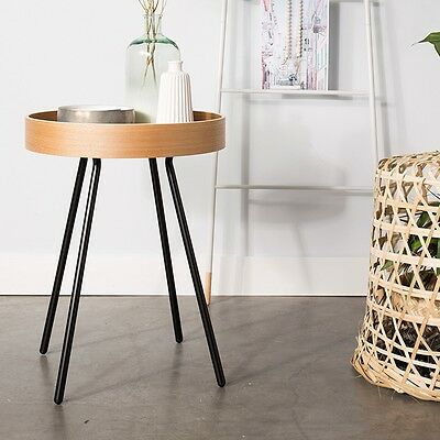 Oak Tray Round Side End Table - Removable Serving Tray Dutch Designer Furniture