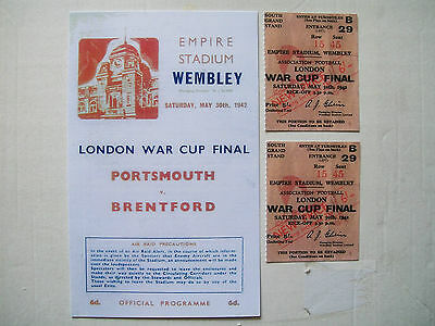 1942 London cup final programme & ticket Portsmouth v Brentford Mint condition.