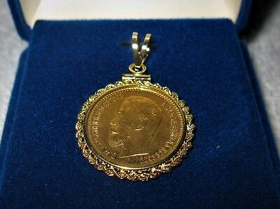 Gold Imperial Russian Czar 5 Ruble Coin 1904 in Felt Box Bezel Pendant Beautiful