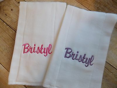 embroider personalized baby burp cloth set of 2