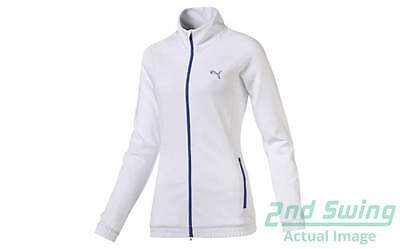 New Womens Puma Golf Track Jacket Small Bright White Dry Cell 571160 MSRP $75
