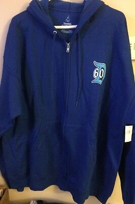 "DIAMOND COLLECTION ""60"" Disneyland 2XL Hoodie Sweat Shirt Zip Up Royal Blue NWT"