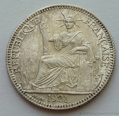 1921-A French Indo China 10 Cent .680 Silver Coin Gem Brilliant Uncirculated