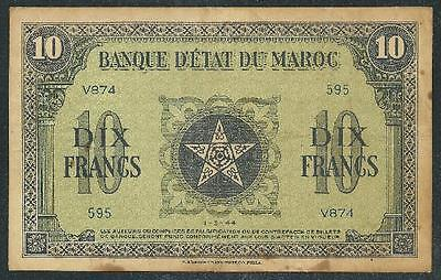 "Morocco 1944 Ten Francs Banknote ""ww Ii"" # B1062 Low Price & $1.00 Usa Ship"