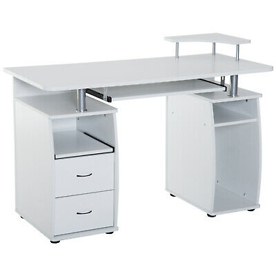 HOMCOM Computer Table PC Desktop Drawer Workstation Home Office Furniture White