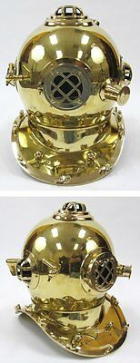 """17"""" Mark V Diver's Helmet Brass With Polished Finish-Nautical Prop"""
