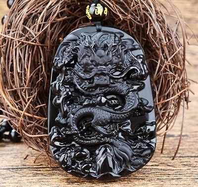 Natural Black Obsidian Hand Carved Dragon Lucky Blessing Beads Pendant Gift ~