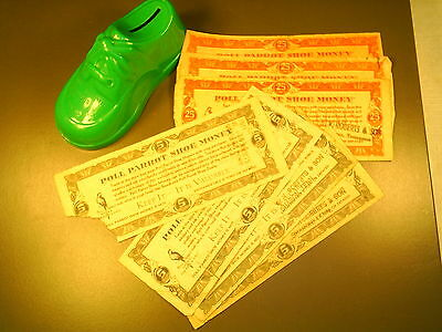 Poll Parrot Shoe Money ($20.75) and Green Plastic Bank (Sharon, Tennessee)